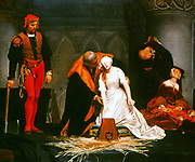 The Execution of Lady Jane Grey' (1537-1554): painting by Paul Delaroche (1797-1856). 'The Nine Days Queen', a granddaughter of Henry VII, after the death the Protestant  Edward VI, her father-in-law proclaimed her queen.  Henry VIII's elder daughter's claim was stronger and she was crowned Mary I.  Jane was  beheaded 12 February 1554.  Painting  of 1833 by Paul Delaroche (1797-1856) French historical painter
