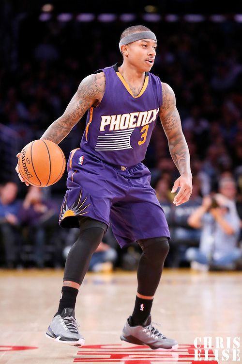 04 November 2014: Phoenix Suns guard Isaiah Thomas (3) brings the ball up court during the Phoenix Suns 112-106 victory over the Los Angeles Lakers, at the Staples Center, Los Angeles, California, USA.
