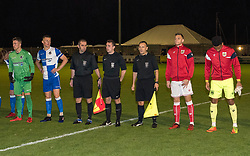 Bristol City and Bristol Rovers players line-up at Woodspring Stadium - Mandatory by-line: Paul Knight/JMP - 16/11/2017 - FOOTBALL - Woodspring Stadium - Weston-super-Mare, England - Bristol City U23 v Bristol Rovers U23 - Central League Cup
