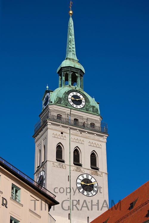 St Peter's Church and tower, Peterskirche, in Rindermarkt, Central Munich, Bavaria, Germany