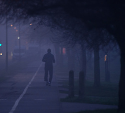 ©Licensed to London News Pictures 01/01/2020<br /> Orpington ,UK.A New year early morning run in the fog. New years day foggy weather in South East London this morning in Orpington a London borough of Bromley.Photo credit: Grant Falvey/LNP