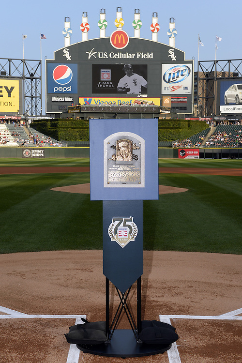 "CHICAGO - AUGUST 2:  The official plaque of 2014 Baseball Hall of Fame Inductee Frank Thomas is displayed for the fans at U.S. Cellular Field during a special ""trip"" that the plaque took over the weekend of August 2-3, 2014."