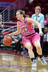 NORMAL, IL - February 10: Paige Saylor during a college women's basketball Play4Kay game between the ISU Redbirds and the Indiana State Sycamores on February 10 2019 at Redbird Arena in Normal, IL. (Photo by Alan Look)