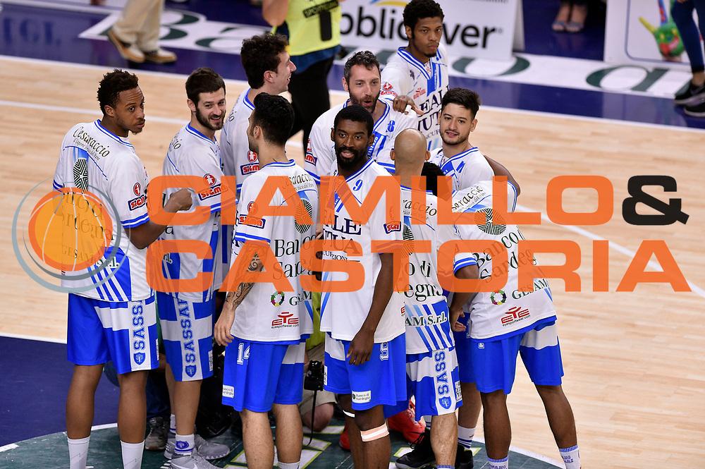 DESCRIZIONE : Sassari Lega A 2014-2015 Banco di Sardegna Sassari Grissinbon Reggio Emilia Finale Playoff Gara 6 <br /> GIOCATORE : team<br /> CATEGORIA : fairplay<br /> SQUADRA : Banco di Sardegna Sassari<br /> EVENTO : Campionato Lega A 2014-2015<br /> GARA : Banco di Sardegna Sassari Grissinbon Reggio Emilia Finale Playoff Gara 6 <br /> DATA : 24/06/2015<br /> SPORT : Pallacanestro<br /> AUTORE : Agenzia Ciamillo-Castoria/GiulioCiamillo<br /> GALLERIA : Lega Basket A 2014-2015<br /> FOTONOTIZIA : Sassari Lega A 2014-2015 Banco di Sardegna Sassari Grissinbon Reggio Emilia Finale Playoff Gara 6<br /> PREDEFINITA :