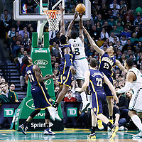 04 January 2013: Boston Celtics power forward Jeff Green (8) goes for the layup over Indiana Pacers center Ian Mahinmi (28) and Indiana Pacers small forward Gerald Green (25) during the Boston Celtics 94-75 victory over the Indiana Pacers at the TD Garden, Boston, Massachusetts, USA.