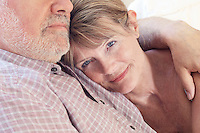 Middle aged couple close up of woman