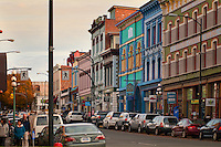 The lower Johnston Street (LoJo) area of Victoria, BC features colorful architecture and interesting shops.