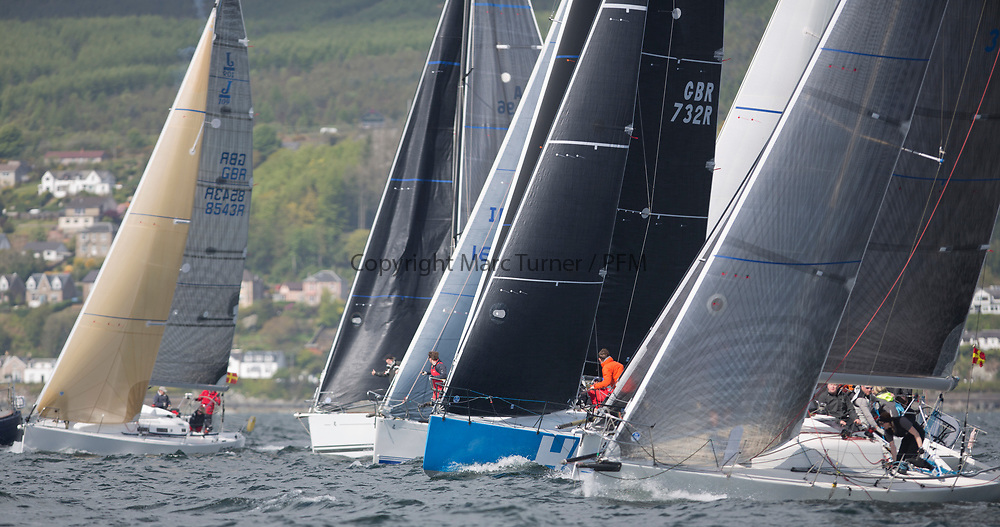 Pelle P Kip Regatta 2017 run by Royal Western Yacht Club at Kip Marina on the Clyde. <br /> <br /> RC35 Class Start, Sloop John T, Animal, Wildebeeste, with Jacob to leeward<br /> <br /> Image Credit Marc Turner