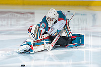 KELOWNA, CANADA - FEBRUARY 14: Jake Morrissey #31 of Kelowna Rockets stretches on the ice during warm up against the Moose Jaw Warriors on February 14, 2015 at Prospera Place in Kelowna, British Columbia, Canada.  (Photo by Marissa Baecker/Shoot the Breeze)  *** Local Caption *** Jake Morrissey;