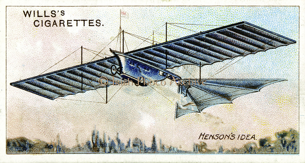 William Henson's (1805-1888) 'Aerial Steam Carriage' of 1843. Henson and his partner Stringfellow managed to get a model of this steam powered flying machine airborne. From set of cards on aviation published 1910.