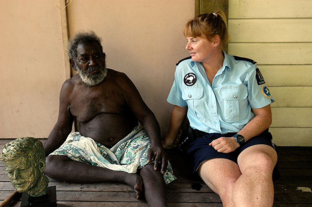 Biuku Gasa (scout that found JFK) with Louise Curragh - Kauvi Island - Roviana Lagoon The Solomon Islands 30/06/05