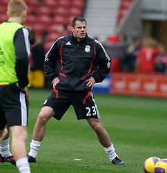MIDDLESBROUGH, ENGLAND - Saturday, January 12, 2008: Liverpool's Jamie Carragher warms-up before the Premiership match against Middlesbrough at the Riverside Stadium. (Photo by David Rawcliffe/Propaganda)