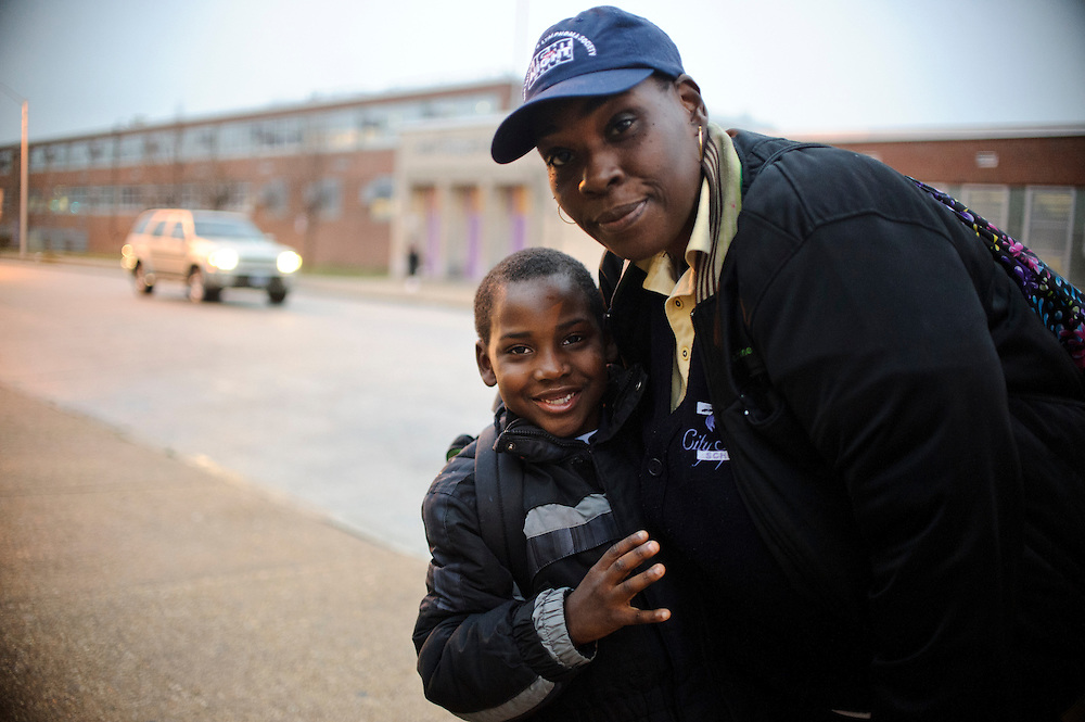 Photo copyright 2009, Matt Roth<br /> Wednesday, February 29, 2012<br /> <br /> City Springs School<br /> Baltimore, MD,<br /> Timeka Harrison, 40<br /> Jamhal Harrison, first grader, <br /> homeless<br /> poverty's effects on students educational success.