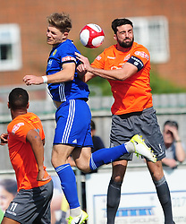 MATHEW BALEY STAFFORD RANGERS BATTLES WITH PETERBOROUGH SPORTS MARK JONES,   Peterborough Sports v Stafford Rangers FA Cup 1st Qualyfying Round Saturday 2nd September 2017.<br /> Score 3-4 Phot:Mike Capps