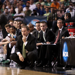 Mar 17, 2011; Tampa, FL, USA; Michigan State Spartans head coach Tom Izzo during the first half of the second round of the 2011 NCAA men's basketball tournament against the UCLA Bruins at the St. Pete Times Forum.  Mandatory Credit: Derick E. Hingle