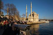 Istanbul. Ortako?y. Ortako?y Mosque and Bosporus Bridge.
