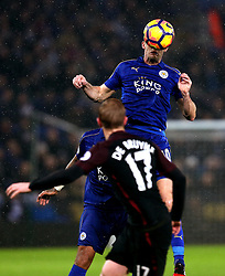 Andy King of Leicester City heads the ball - Mandatory by-line: Robbie Stephenson/JMP - 10/12/2016 - FOOTBALL - King Power Stadium - Leicester, England - Leicester City v Manchester City - Premier League