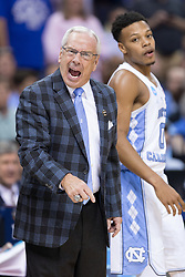 North Carolina head coach Roy Williams directs his team in the first half. <br /> <br /> The University of Kentucky hosted the University of North Carolina in a 2017 NCAA D1 Men's South Regional Championship, Sunday, March 26, 2017 at FedExForum in Memphis.