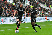 Luke Ayling (2) of Leeds United and Hadi Sacko (24) of Leeds United on the attack during the EFL Sky Bet Championship match between Bristol City and Leeds United at Ashton Gate, Bristol, England on 21 October 2017. Photo by Graham Hunt.