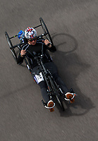 Jen Warren in action during the Prudential RideLondon Handcycle Grand Prix.<br /> <br /> Prudential RideLondon 28/07/2017<br /> <br /> Photo: Bob Martin/Silverhub for Prudential RideLondon<br /> <br /> Prudential RideLondon is the world&rsquo;s greatest festival of cycling, involving 100,000+ cyclists &ndash; from Olympic champions to a free family fun ride - riding in events over closed roads in London and Surrey over the weekend of 28th to 30th July 2017. <br /> <br /> See www.PrudentialRideLondon.co.uk for more.<br /> <br /> For further information: media@londonmarathonevents.co.uk
