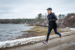 Joan Benoit Samuelson trains for Boston Marathon near her home in Freeport, Maine, USA