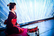A geisha performed on stage during The Asian Banker International Awards 2017 ceremony at the Conrad Hotel in Tokyo, japan. 21/07/2017-Tokyo, JAPAN