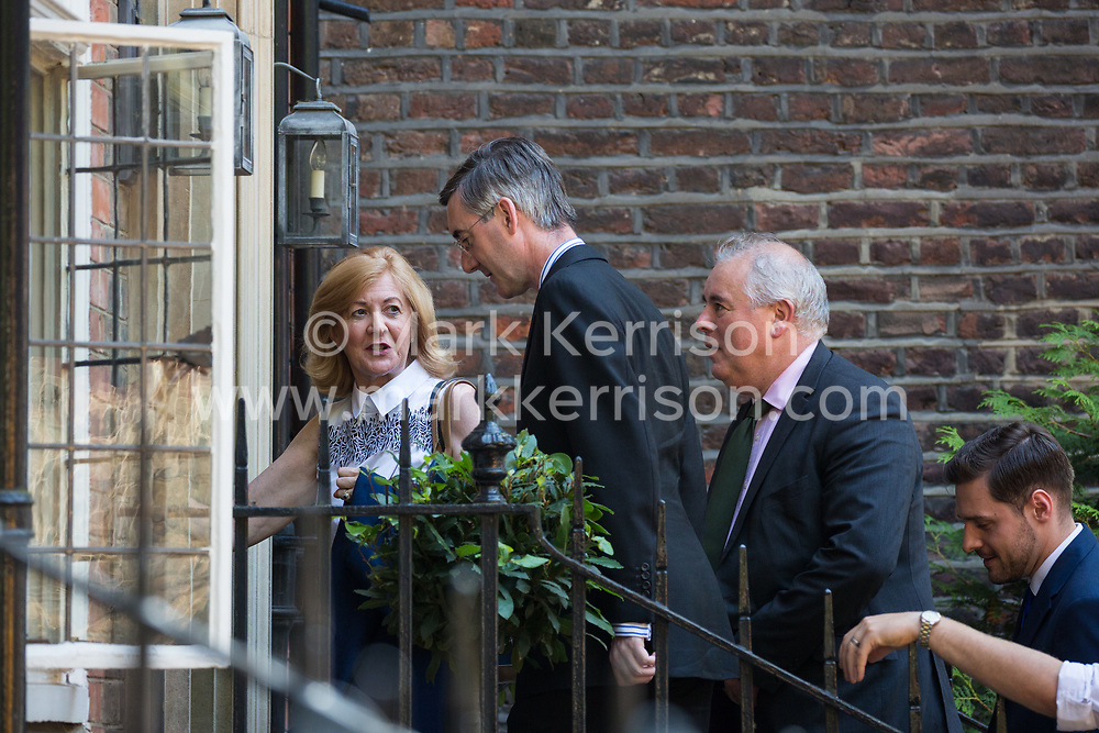 London, UK. 23 July, 2019. Jacob Rees-Mogg, Chairperson of the pro-Brexit European Research Group (ERG), arrives to attend a celebration in Westminster of Boris Johnson's election as Conservative Party leader and replacement of Theresa May as Prime Minister organised by the ERG.