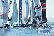 Crowded rounding the top mark, Day one of the Extreme Sailing Series at Nice. 2/10/2014