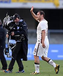 VERONA, May 21, 2017  Roma's Francesco Totti (R) gestures during a Serie A soccer match against Chievo Verona in Verona, Italy, May 20, 2017. Roma won 5-3. (Credit Image: © Alberto Lingria/Xinhua via ZUMA Wire)