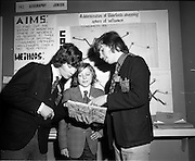03/01/1975.01/03/1975.3rd January 1975.The Aer Lingus Young Scientist Exhibition at the RDS, Dublin...Picture shows L-R Francis Downay, who made a study of the complexities of Waterford's traffic problem, William O'Shea, who did a comprehensive study of tourism in Ireland with special emphasis on the South East region and Paul Heenan who won first prize in the junior section for Geography and Geology with a project to determine Waterford's shopping sphere of influence. All three boys are pupils of Waterford College.