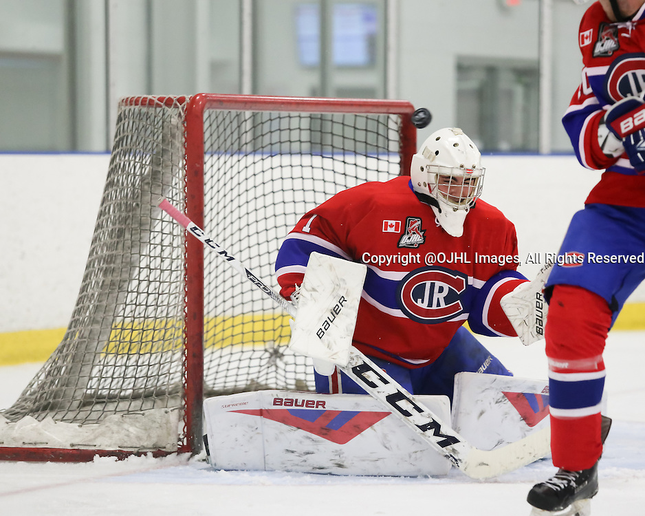 TORONTO, ON - Oct 10, 2015 : Ontario Junior Hockey League game action between North York and Toronto.<br /> Goaltender, Brendan Bonello #1 of the Toronto Jr Canadiens, saved by the post, during the first period. <br /> (Photo by Anna Matthews / OJHL Images)