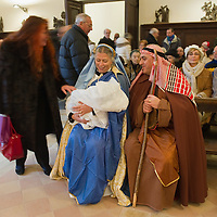 VENICE, ITALY - DECEMBER 26:  A real Venetian couple with their one month old son perform a live nativity scene, after being ferried in gondolas from St Mark's to the Island of S Giorgio on December 26, 2011 in Venice, Italy.  The event is in its first year wants and to replicate an ancient tradition when the Doge of Venice used to go to the Island of S Giorgio to celebrate the relics of Santo Stefano on Boxing Day. HOW TO LICENCE THIS PICTURE: please contact us via e-mail at sales@xianpix.com or call our office London   +44 (0)207 1939846 for prices and terms of copyright. First Use Only ,Editorial Use Only, All repros payable, No Archiving.© MARCO SECCHI