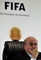 20100705: JOHANNESBURG, SOUTH AFRICA - World football's two most prestigious player of the year awards will merge into a single title called the FIFA Ballon d'Or from next year. The deal was announced by France Football magazine publisher Marie-Odile Amaury and Joseph Blatter. In picture: FIFA President Joseph Blatter. PHOTO: CITYFILES