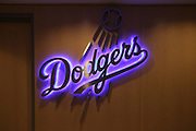 LOS ANGELES, CA - JUNE 30:  A neon team sign lights up in blue before the Los Angeles Dodgers game against the Philadelphia Phillies on Sunday, June 30, 2013 at Dodger Stadium in Los Angeles, California. The Dodgers won the game 6-1. (Photo by Paul Spinelli/MLB Photos via Getty Images)