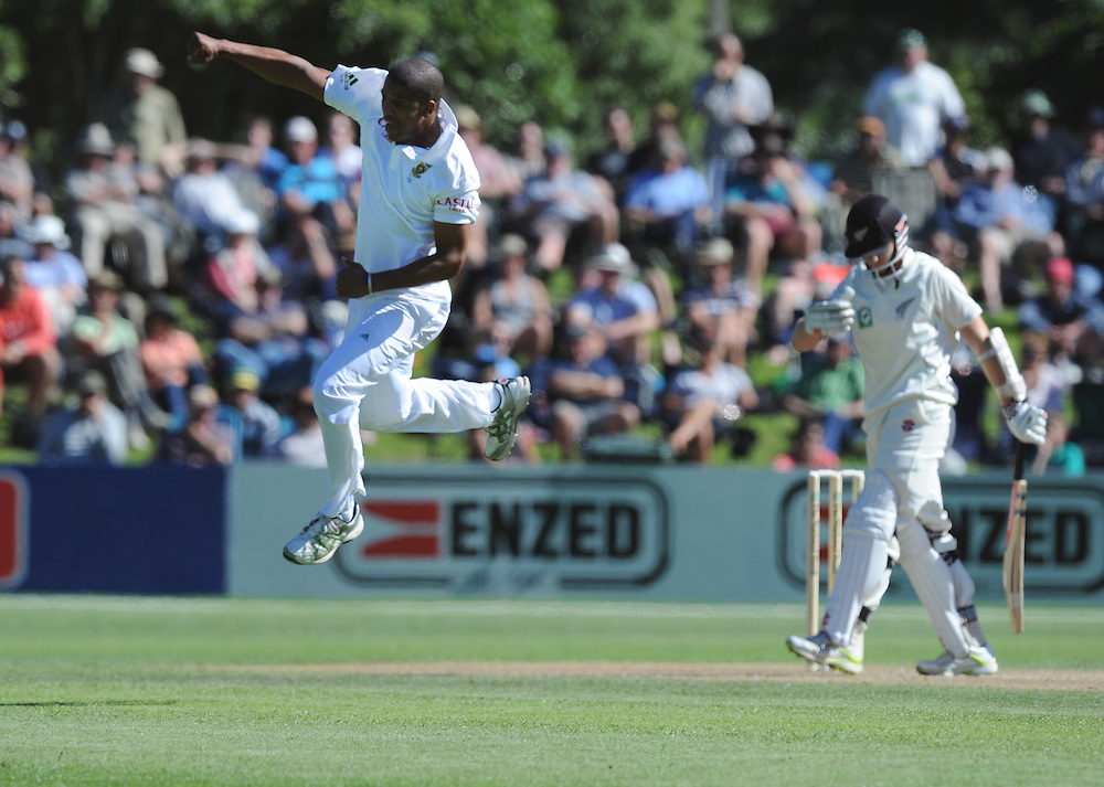 South Africa's Vernon Philander leaps in the air after dismissing New Zealand's Kane Williamson for 11 on the second day of the first International Cricket Test, University Oval, Dunedin, New Zealand, Thursday, March 08, 2012. Credit:SNPA / Ross Setford
