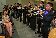 Houston ISD trustee Anna Eastman listens as members of the Davis High School Mariachi Pantera perform during a Board meeting, April 9, 2015.