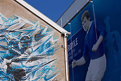 LIVERPOOL, ENGLAND - Sunday, April 9, 2017: Mural of Everton strikers Graeme Sharpe and Joe Royle on the side of a building outside Goodison Park, pictured before the FA Premier League match between Everton and Leicester City at Goodison Park. (Pic by David Rawcliffe/Propaganda)