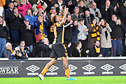 Hull City striker Abel Hernandez (9) celebrates scoring goal to go 3-1  during the Premier League match between Hull City and Middlesbrough at the KCOM Stadium, Kingston upon Hull, England on 5 April 2017. Photo by Ian Lyall.