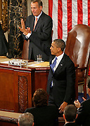 2/12/13 9:10:59 AM -- Washington, DC, U.S.A<br />  -- President Barack Obama waves to the box where Speaker of the House John Boehner's special guests were seated, among them Teddy Kremer of White Oak after delivering the State of the Union address to a joint session of the United States Congress in the House chamber of the U.S. Capitol.  The Enquirer/Jeff Swinger