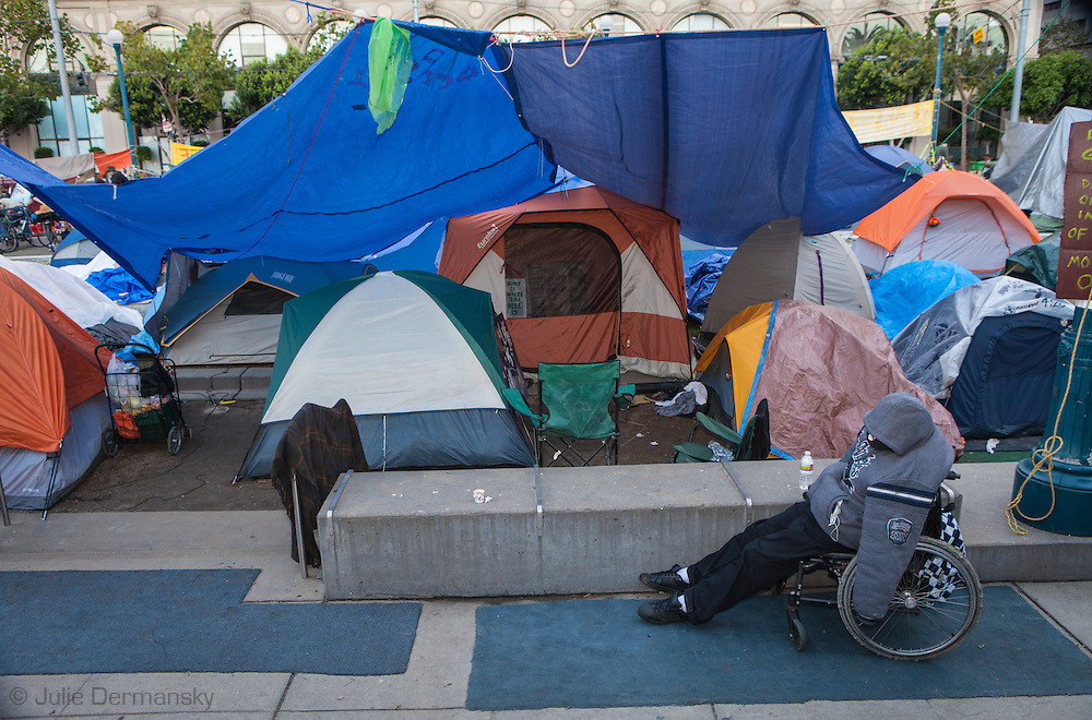 November 14th, San Francisco California, Tents in an encampment making up Occupy San Francisco in Justin Herman Plaza.  Occupy San Francisco was set up in solidarity with Occupy Wall Street.