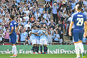 Manchester City Midfielder Bernardo Silva (20) celebrates scoring a goal (2-0) during the FA Community Shield match between Chelsea and Manchester City at Wembley Stadium, London, England on 5 August 2018. Picture by Stephen Wright.