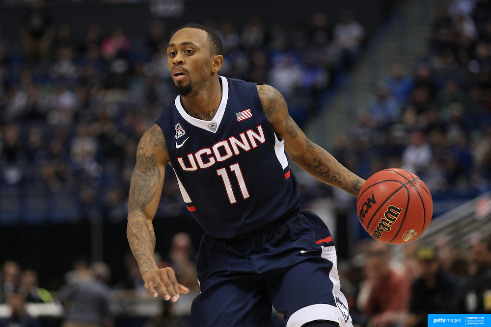 Ryan Boatright, UConn, in action during the UConn Huskies Vs Tulsa Semi Final game at the American Athletic Conference Men's College Basketball Championships 2015 at the XL Center, Hartford, Connecticut, USA. 14th March 2015. Photo Tim Clayton