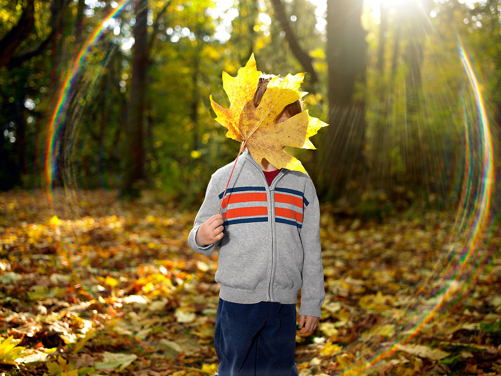Boy standing in park with maple leaf in front of face.