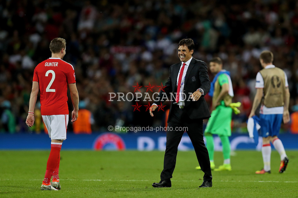 TOULOUSE, FRANCE - Monday, June 20, 2016: Wales' manager Chris Coleman and Chris Gunter celebrate the 3-0 victory over Russia and reaching the knock-out stage during the final Group B UEFA Euro 2016 Championship match at Stadium de Toulouse. (Pic by David Rawcliffe/Propaganda)