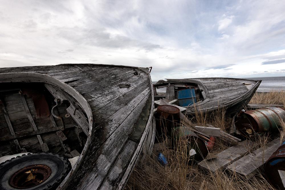 Abandoned boats, Naknek, Alaska
