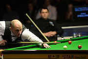 20.02.2016. Cardiff Arena, Cardiff, Wales. Bet Victor Welsh Open Snooker. Ronnie O'Sullivan versus Joe Perry. Joe Perry at the table.