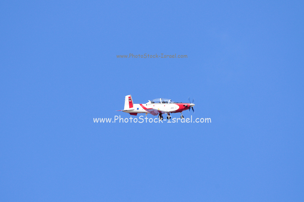 Israeli Air force Flight Academy Beechcraft T-6A Texan II Aerobatics team in flight