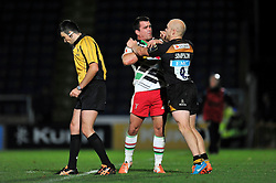 Tempers flare between Dave Ward of Harlequins and Joe Simpson of Wasps - Photo mandatory by-line: Patrick Khachfe/JMP - Mobile: 07966 386802 26/10/2014 - SPORT - RUGBY UNION - High Wycombe - Adams Park - Wasps v Harlequins - European Rugby Champions Cup