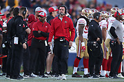 Dec 30, 2018; Los Angeles, CA, USA; San Francisco 49ers head coach Kyle Shanahan looks on at Los Angeles Memorial Coliseum. The Rams defeated the 49ers 48-31.  (Robin Alam/Image of Sport)