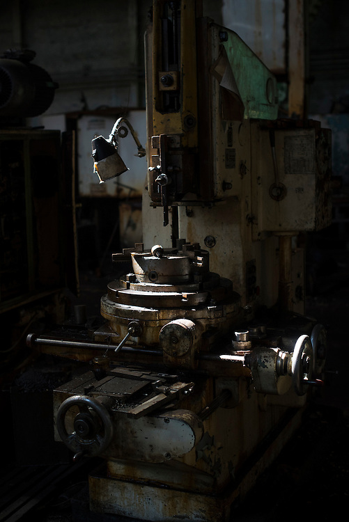 A disused tool is seen in Azov Engineering Group's garage on September 9, 2015 in Kyiv, Ukraine.